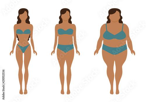 Aumento e perdita di peso, ragazza in costume, prova costume. Silhouette di una ragazza magra, normale e obesa