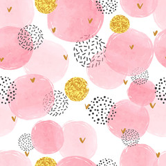 Tapeta Seamless dotted pattern with pink and golden circles. Vector abstract background with watercolor shapes.