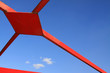 canvas print picture - red steel building in the blue sky