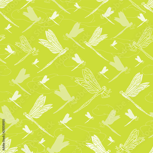 Foto op Canvas Kunstmatig Vector Bright Green Dragonfly , Repeating Seamless Pattern Background, Delightful Illustration of Flying Dragonflies, Texture Insects Animal for Fabric, Scrapbooking,Home Decor & Pretty Web Stationery