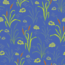 Vector Bright Blue Water With Bulrushes , Lily Pads On The Pond , Repeating Seamless Pattern Background, Delightful Illustration Of Reed Grass Lil For Fabric, Scrapbooking, Home Decor & Web Stationery