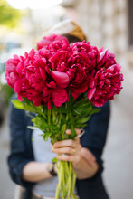 Woman Holding Gorgeous Pink Bouquet