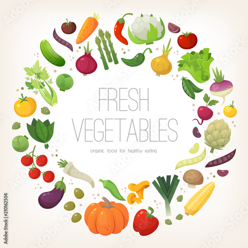 Poster Cuisine Fresh colorful vegetables arranged in circle. Vector illustration.