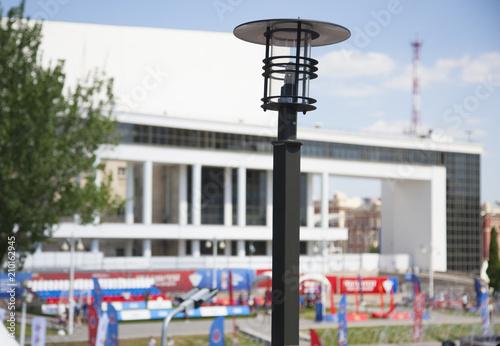 Spoed Foto op Canvas Theater Lantern street lighting on a blurry background football fanzone