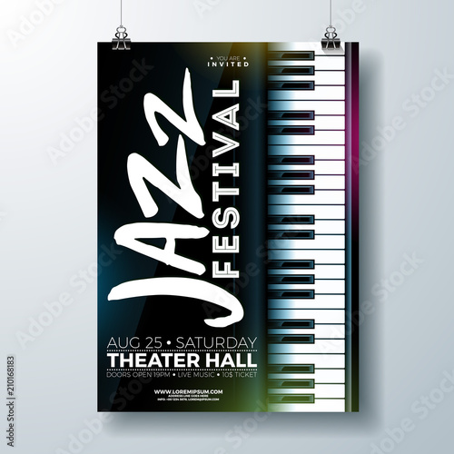 Jazz Music Festival Flyer Design with Piano Keyboard on Dark Background. Vector Party Illustration Template for Invitation Poster, Promotional Banner, Brochure, or Greeting Card. © articular
