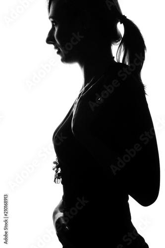 Frau Shilouette Silhouette Umriß Highkey Frau Stehend Sexy