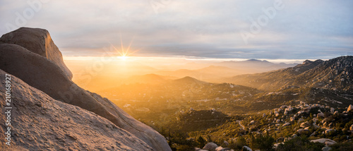 Mount Woodson landscape at sunset, California, America, USA