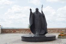 Pope John Paul II Public Statue At Nitra Castle Church Courtyard