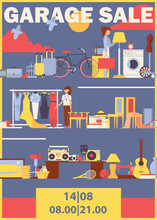 Vector Vertical Poster Or Flyer For Garage Sale With Used Goods