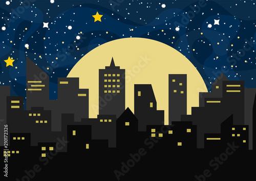 Wektorowa tło ilustracja z nocy miastem, niebem, gwiazdami i pyłem ,.