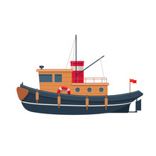 Wooden Tugboat. Vector Illustration On White