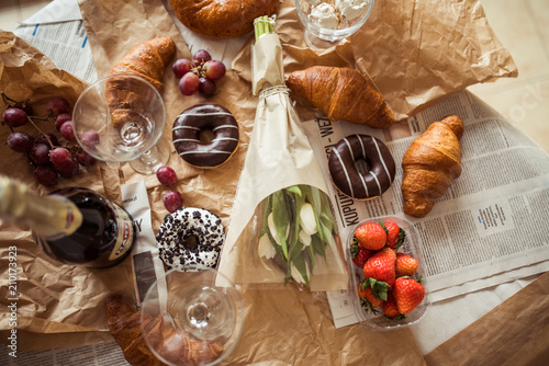 Fotomural  Still life, food and drink concept