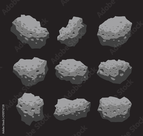 Asteroid Meteoroid Stone Vector Illustration Canvas Print