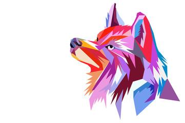 głowa wilka. styl wielokąta.