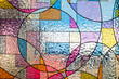 canvas print picture - stained colorful christ glass . abstract multicolor