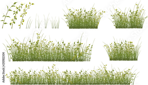 Spoed Foto op Canvas Babykamer Set of grass and flowers for you design and computer game