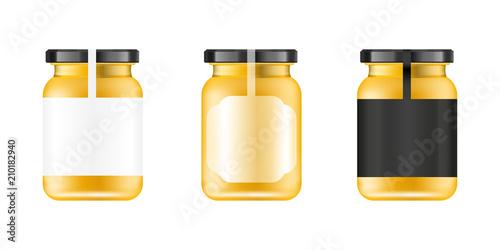 Realistic glass jar Tableau sur Toile