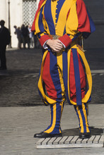A Member Of The Pontifical Swiss Guard Who Protect The Pope In Vatican City