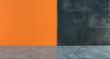 Leinwanddruck Bild - High Contrast Empty Room With Orange And Dark Concrete Walls Minimalistic Concept.3D Rendering