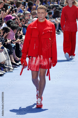 664302d92686 A model presents a creation by designer Virgil Abloh as part of his  Spring Summer