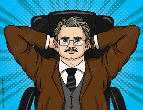 Vector comic style illustration of a boss sitting on chair in the office. Colorful portrait of a businessman in glasses relaxing