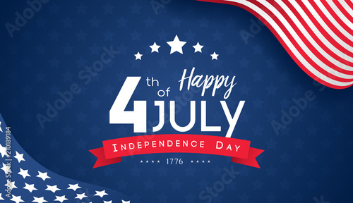 Obraz 4th of July with USA flag, Independence Day Banner Vector illustration. - fototapety do salonu