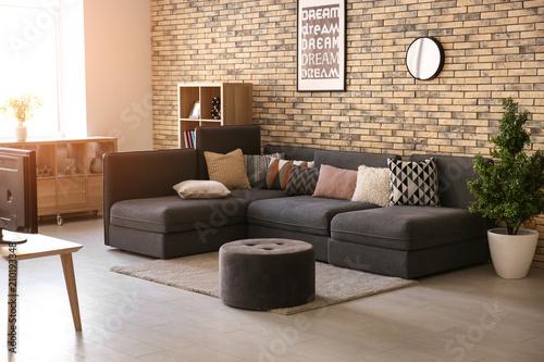 Carta da parati  Stylish interior of living room with comfortable sofa