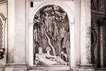 One Of Four Fountains At Crossroad In Rome, Quattro Fontane Square, Italy. Renaissance Sculpture Waits For Green Light