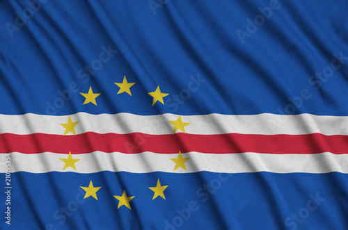 Cabo verde flag  is depicted on a sports cloth fabric with many folds Fototapeta