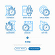 Time thin line icons set: stopwatch, smart watch, time is money, hot time, deadline, countdown. Modern vector illustration, web page template.
