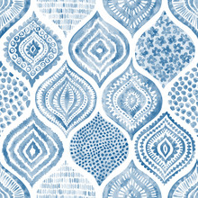 Seamless Watercolor Pattern. Vintage Blue And White Ornament. Textile Print Hand-drawn.