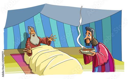 Billede på lærred Jacob brings food and deceives his father Isaac