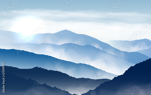 Vector blue beautiful foggy mountains with sun and clouds in the sky - 210199787