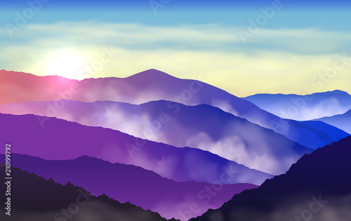 Leinwand Poster Vector beautiful colorful silhouettes of misty mountains with sun and clouds in