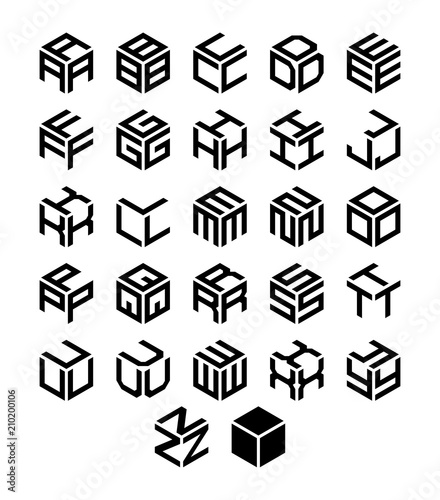 Cubic geometric alphabet set. Vector isometric logos. Wallpaper Mural