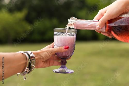 Fototapeta womans pours champagne in glasses at picnic pary obraz