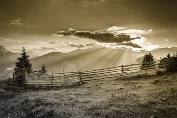 Sonnenstrahlen der untergehenden Sonne im sepia Farbton