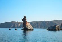 Rabbit Rock In The Aegean Sea Near Milos Island In The Cycladic.