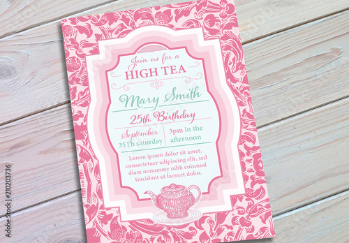 Pink Vintage Patterned Birthday Invitation Layout Buy This Stock