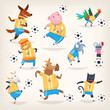 Cute farm animals team playing soccer on different positions. First team
