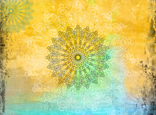 Fotografie, Obraz  Geometric Mandala Grunge Background