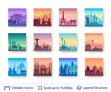 World Famous City Scapes Set.