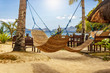 Tropical beach. A hammock between two palm trees on the beach. Concept of rest. Beautiful beach.