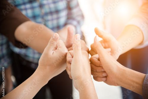 People thumb up in teamwork group. People and Business concept. Cooperation and start up theme.
