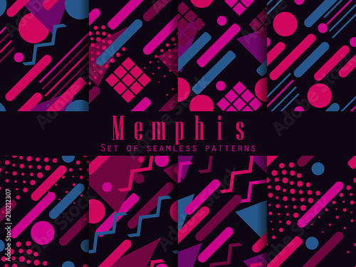 Memphis seamless pattern плакат