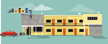 Retro Style Architecture Motel With A Vintage Car Up Front, EPS 8 Vector Illustration