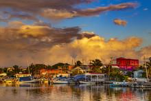 Belize. Sunset On San Pedro To...