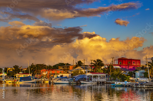 Belize. Sunset on San Pedro Town, Ambergris Caye Island Canvas Print