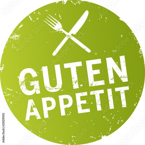 Fotografie, Obraz Button Guten Appetit zerkratzt