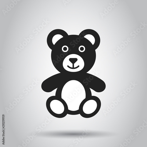 Teddy bear plush toy icon. Vector illustration. Business concept bear pictogram. #210219959